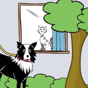 A cartoon of a cat and dog