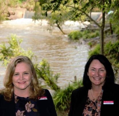 Cr Laurie Koranski and Teresa Lane at the weir on the Albert River