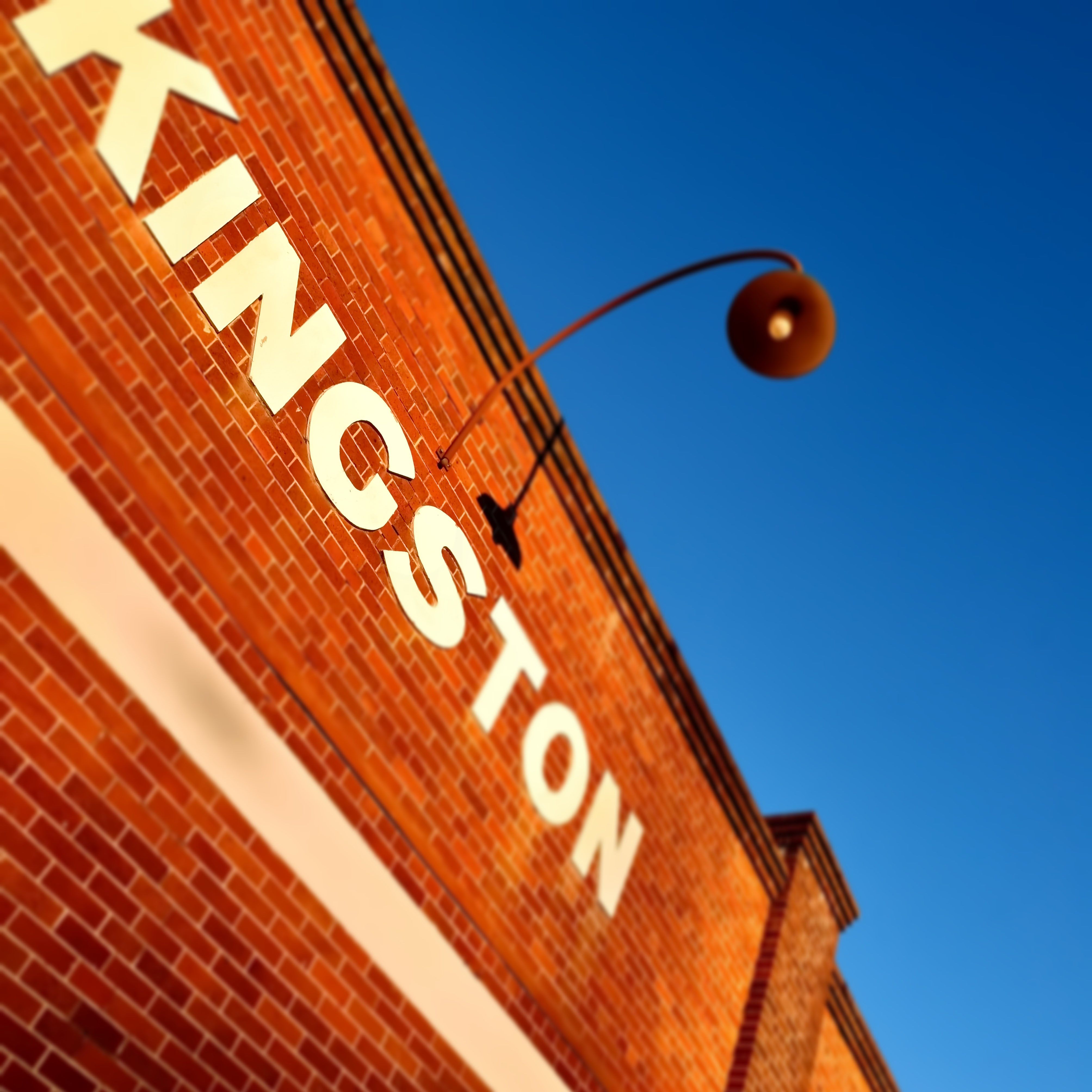 The name Kingston on a brick building