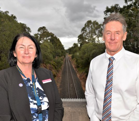 Infrastructure Chair Cr Teresa Lane and Mayor Darren Power at Forestdale