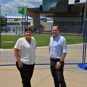 A photograph of Councillors Jon Raven and Karen Murphy at Beenleigh Town Square.