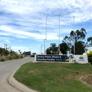 An image of the entrance to the Browns Plains waste transfer station. Waste transfer stations in Logan will reopen from today (Tuesday, April 7) with strict measures in place.